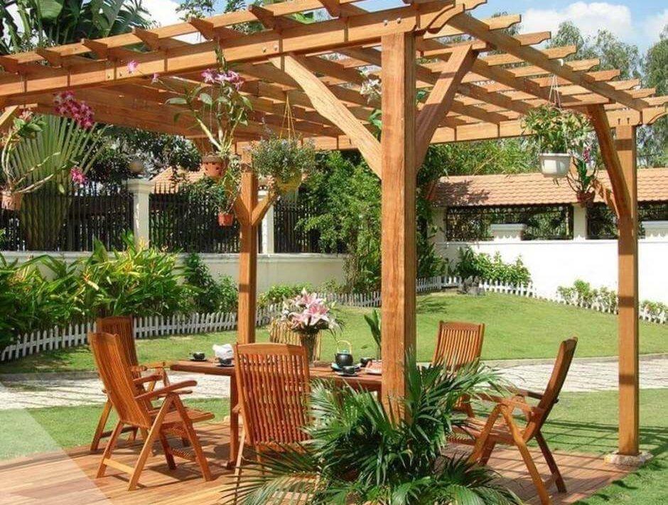 jolie pergola bois abri jardin bois
